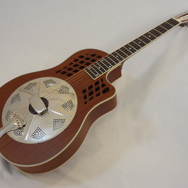 National Resonator Wood Body ResoRocket Guitar Front Angled View