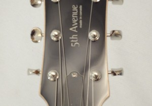 Godin Kingpin 5th Avenue Black Archtop Guitar Headstock