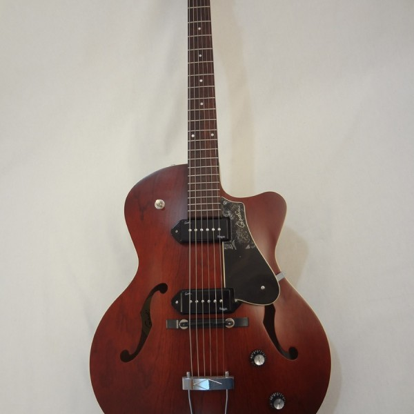 Godin 5th Avenue Kingpin II Burgundy Archtop Guitar full front view