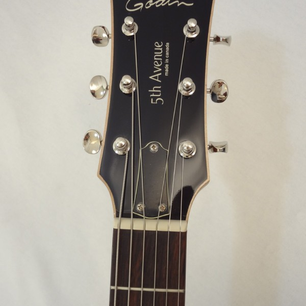 Godin 5th Avenue Kingpin II Burgundy Archtop Guitar headstock