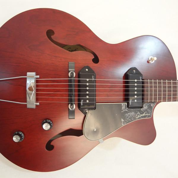 Godin 5th Avenue Kingpin II Burgundy Archtop Guitar fron view