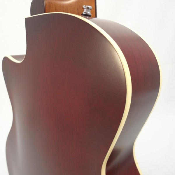 Godin 5th Avenue Kingpin II Burgundy Archtop Guitar back angled view