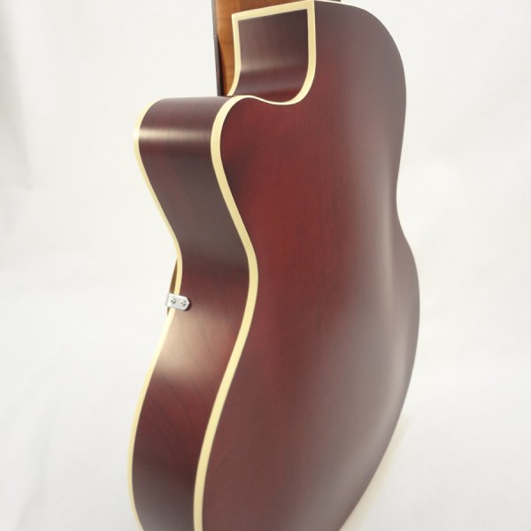 Godin 5th Avenue Kingpin II Burgundy Archtop Guitar back angled view 2