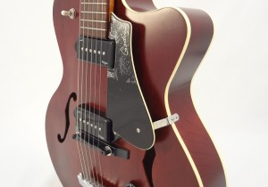 Godin 5th Avenue Kingpin II Burgundy Archtop Guitar front angled view
