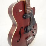 Godin 5th Avenue Kingpin II Burgundy Archtop Guitar front angled view 2