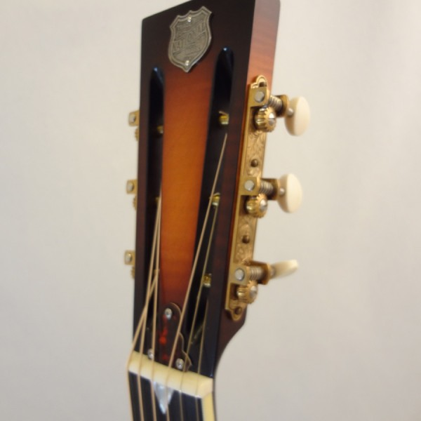Used National Resonator Single Cone Guitar Style N German Silver Headstock View