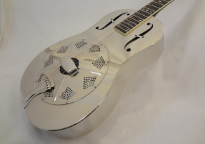 Used National Resonator Single Cone Guitar Style N German Silver Angled Front View