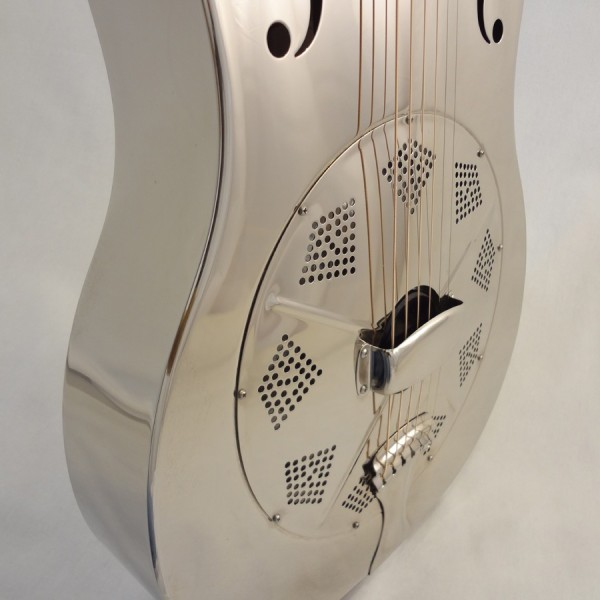 Used National Resonator Single Cone Guitar Style N German Silver Coverplate view