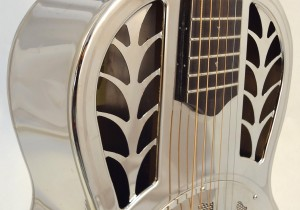 John Morton Parlor Resonator Guitar C-1786 Nickel-Plated Brass Soundhole View