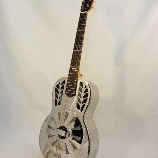John Morton Parlor Resonator Guitar C-1786 Nickel-Plated Brass Front Angled View 2
