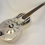 John Morton Parlor Resonator Guitar C-1786 Nickel-Plated Brass Front Angled Full View