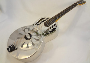 John Morton Parlor Resonator Guitar C-1786 Nickel-Plated Brass Front Angled Full View