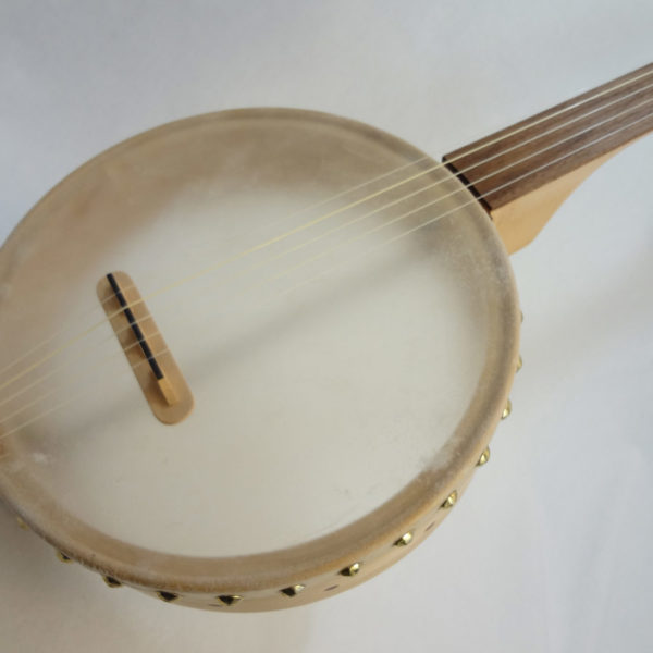 Custom Fretless Short Scale Tackhead Banjo Angled Front View