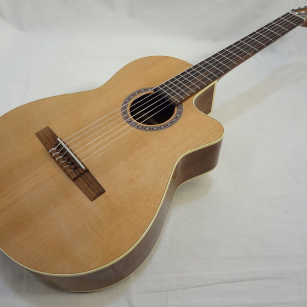 La Patrie Concert Cutaway with Pickup Nylon Classical Guitar Angled Full Front