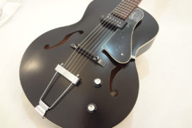 Godin Kingpin 5th Avenue Black Archtop Guitar Front Angled View