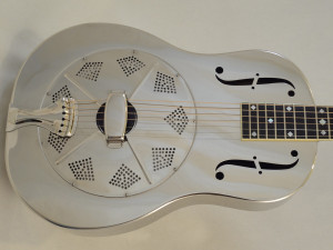 Used National Resonator Single Cone Guitar Style N German Silver Front View