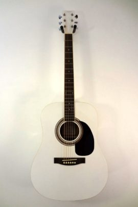 Johnson Acoustic Guitar White Finish Full Front View