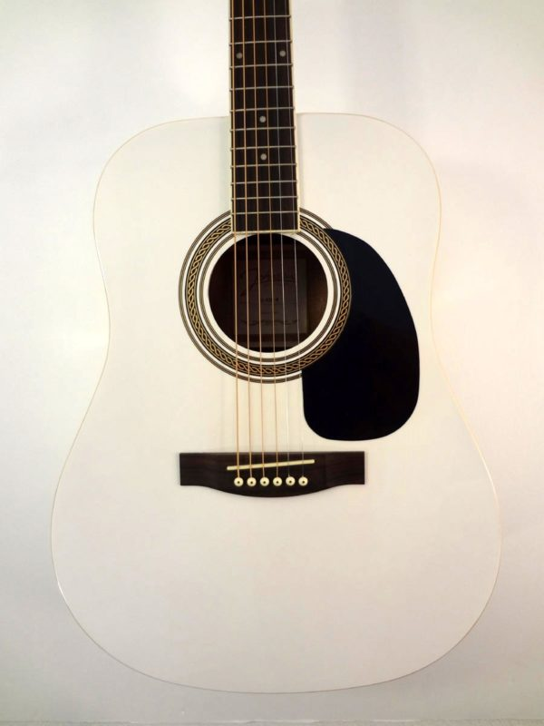 Johnson Acoustic Guitar White Finish Front View