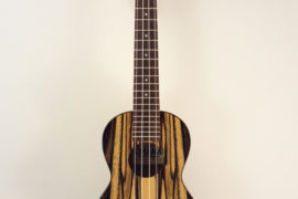 Ohana Black & White Ebony Concert Uke CK-15BWE Full Front View