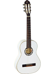 Ortega 1/2 Size Guitar w/ Spruce top – Gloss White Finish