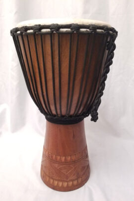 "Sageman Djembe 10""X20"" Line Carved Dark Front View"