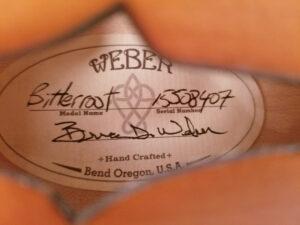 Weber Bitteroot F-Style Mandolin Label