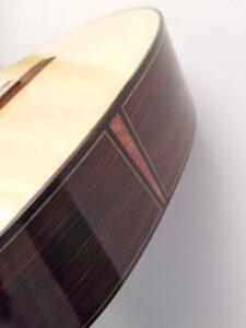 John Blanchard Classical Handmade Guitar with Spalted Maple Rosette Bottom Detail