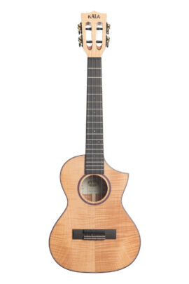 Kala Solid Flame Maple Tenor Uke Cutaway KA-ASFM-T-C Front View