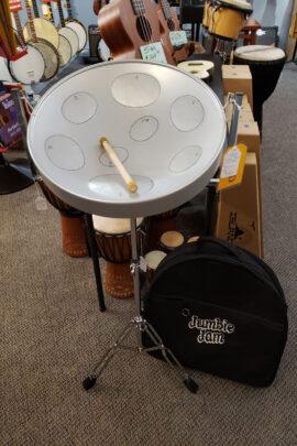 USED Jumbie Jam Steel Pan with Metal Tripod Stand