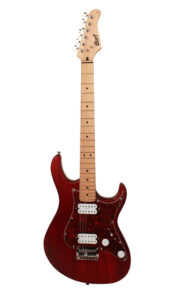 Cort Electric Guitar with Humbucker Pickups & Black Cherry Finish Front View