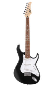 Cort Electric Guitar with Single Coil Pickups & Black Finish Front View