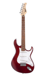 Cort Electric Guitar with Single Coil Pickups & Black Cherry Finish Front View